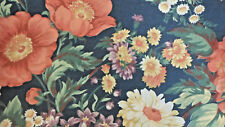 Flower Garden Tulip Daisy Iris 1 3/8 yd Blue Purple Pink Quilting Sewing Fabric