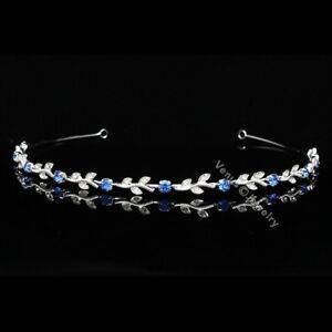 Bridal Blue Crystal Bridesmaid Flower Girl Wedding Headband Tiara 5108