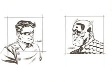 Captain America and Bucky - Sold as a Pair - Signed art by Dave Johnson Comic Art