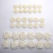 36 Ivory Roses edible wedding cake cupcake decorations sugar flowers 25/30/45mm
