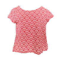 Anthropologie Postmark Top Red White Women's Small Daisy Embroidered Cotton