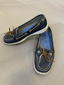 Sperry Top Sider Women's 8.5M 9180126 Slip-On Loafers Boat Shoes Blue Metallic