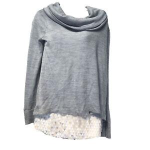White House Black Market Size M Layered Cowl Neck Long Sleeve Tunic Sweater