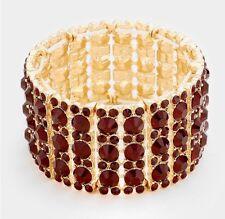 Dark Red Gold Stretch Stretchable Cuff Crystal Rhinestone Pageant Bracelet