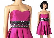 Strapless Prom Gown Sz S Davids Bridal Dark Pink Black Taffeta Short Mini Dress