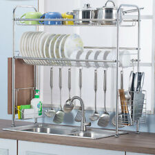 "38"" Over The Sink Dish Drying Rack Stainless Steel Kitchen Cutlery Holder Shelf"