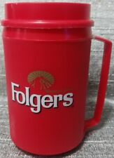 12 oz FOLGERS Coffee Insulated ALADDIN Red Advertising Travel Mug Cup Cold Hot