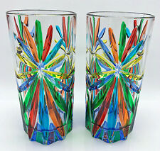 """SORRENTO"" HIGHBALL GLASSES - SET OF TWO - HAND PAINTED VENETIAN GLASSWARE"