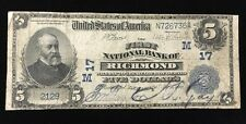 The First National Bank of Richmond Indiana Charter 17 $5 Series of 1902