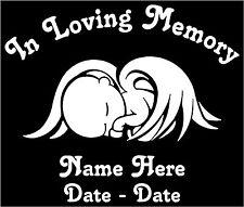 "In Loving Memory Angel Baby Memorial Decal Pers 6.5""W"