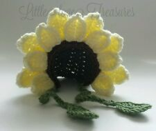 NEW Newborn Baby Yellow Sunflower Bonnet Hat Crochet infant photo prop Gift
