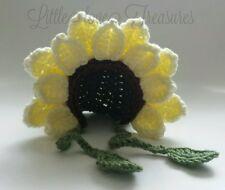 NEW Newborn Baby Yellow Sunflower Bonnet Hat Crochet infant photo prop Gift