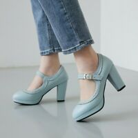 Womens High Heel Block Ankle Strap Pumps Party Buckle Cocktail Round Toe Fashion