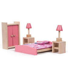Wooden Furniture Dolls House Family Miniature 6 Room Set Doll Toy Game Kids Gift Bedroom