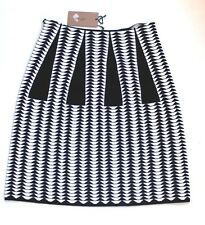 "New Alaia Black and White Geometric Jacquard Knit ""Droite""  Skirt F 38 uk 8-10"