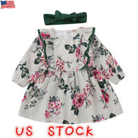 Kids Baby Girls Princess Floral Dress Toddler Long Sleeve Party Dresses Tops US