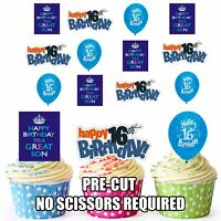Precut 16th Birthday Son Cake Decorations 12 Edible Cup Cake Toppers Blue Boys
