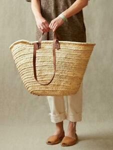 FRENCH BASKET with double flat leather handles, straw bag, beach bag, basket bag
