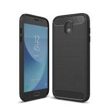 Handy Schutz Hülle Samsung Galaxy J5 2017 TPU Case Carbon Optik Brushed Cover