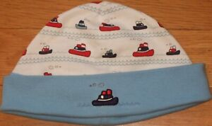 NEW Vintage 2001 GYMBOREE Tug Boat BEANIE Cap HAT White Red Blue Size 3-6 mo NWT