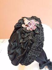 Antico Vintage Nero Vittoriano Cofano Cappello di piccole dimensioni con Perline Rifinitura Nastro In Velluto VIOLE