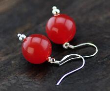 Handmade 12MM Smooth Red Jade  Silver Hook Dangle Earrings