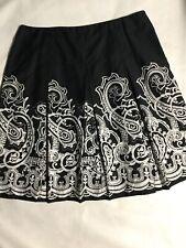 Charter Club  women's Size 16 Black/white Paisley Design A-line Skirt. U58