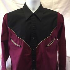 Plains Western Wear Sz M Shirt Maroon Rockabilly Country Black Pearl Snap Rodeo