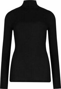 Ex M*S Heatgen Thermal Roll Neck Long Sleeve Top in Black Size 6 - 24 (W7.14)