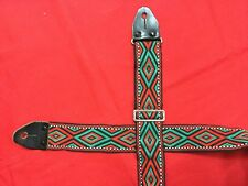 VINTAGE ACE STYLE GUITAR STRAP LEATHER ENDS METAL BUCKLE MIJ EMBROIDERED