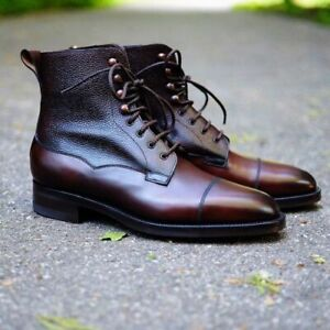Handmade Men's Genuine Brown Leather Lace up Toe cap Ankle Boots