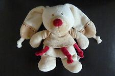 *- LOT DE 2 -  DOUDOU HOCHET GRELOT BASTIEN LAPIN KIABI NICOTOY beige rouge TTBE