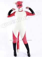 100%Latex Rubber Inflatable Fox Catsuit Suit Bodysuit Zentai Outfit Mask Costume