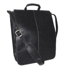 Royce 17 Inch Vertical Laptop Messenger Bag, Colombian Vaquetta Leather, Black