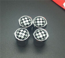 4PCS Checkered fla Tire Wheel Rims Stem Air Valve Caps Tyre Cover Car Truck Bike