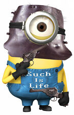 NED KELLY  MINION DECAL SUCH IS LIFE 100MM HIGH GLOSS LAMINATED CONTOUR CUT