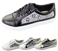 Womens Sneakers Flat Pumps Ladies Diamante Summer Plimsole Loafer Shoes
