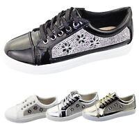 Womens Sneakers Flat Pumps Ladies Diamante Summer Plimsole Loafer Shoes