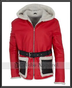 New Fashion Hooded Fur Winter Mens Red Santa Claus Christmas Jacket Coat