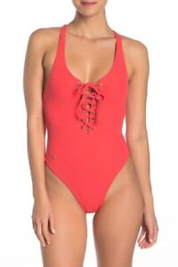 NWT $150 SZ S MAAJI HEAVENLY REVERSIBLE LACEUP ONE PIECE CAYENNE RED