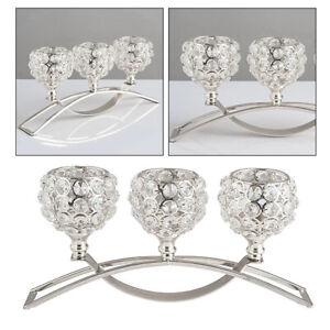 3 Arms Candelabras Crystal Arch Bridge Goblet Candle Holders Bowl Tealight stiSJ
