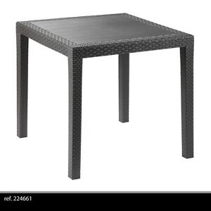 TABLE CARRE PLASTIQUE IMITATION ROTIN JARDIN EXTÉRIEUR TERRASSE CAMPING 024