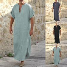 INCERUN Men's 100%Cotton Saudi Style Causal Long Kaftan Robe Tops Shirt Pajamas