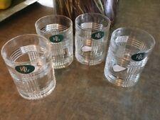 SET/4 RALPH LAUREN *GLEN PLAID* LEAD CRYSTAL OLD FASHIONED ROCK GLASSES NWT