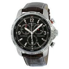 Certina DS Podium Big Size Chronograph Black Dial Brown Leather Mens Quartz