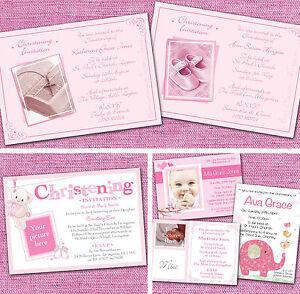 Personalised Girls Christening Baptism Naming Day Invitations Invites