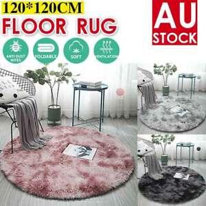 Round Soft Shaggy Rug Kids Living Room Bedroom Carpet Floor Fluffy Mat 120*120CM