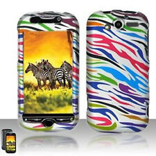 For T-Mobile myTouch 4G Rubberized Hard Case Phone Cover Silver Rainbow Zebra