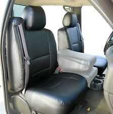 Chevy Silverado 2003-2006 Black S.Leather Custom Made Fit 2 Front Seat Covers