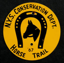1960's Vintage NEW YORK Conservation Dept HORSE TRAIL Metal FOREST MARKER SIGN